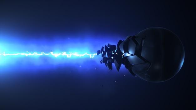 Le laser bleu détruit le rendu 3d de la sphère