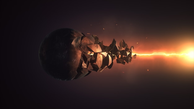 Laser fiery détruisant le rendu 3d de la sphère