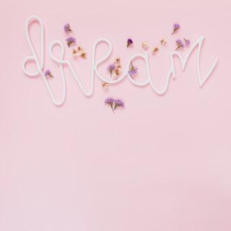 Lavande et fleurs blanches sur le texte de rêve sur le fond rose