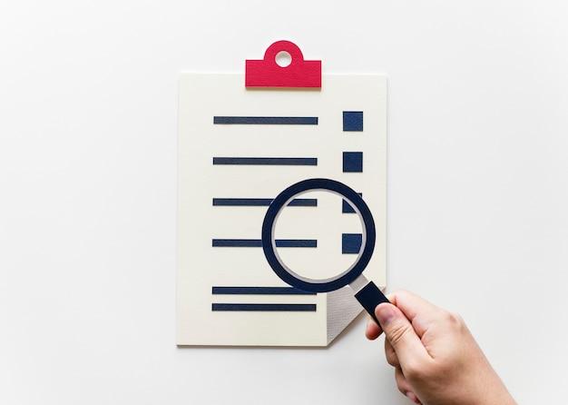 Lay plat de l'artisanat de papier d'enquête de données