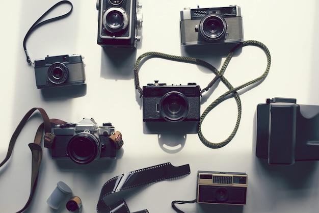 Lay plat de caméras analogiques vintage