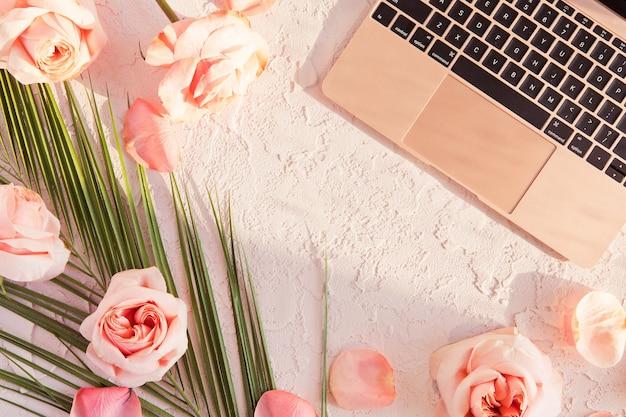 Lay plat de composition élégante avec feuille de palmier tropical, fleurs roses roses, sur pastel avec ombres et lumière du soleil