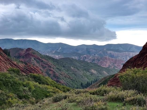 Lbeau paysage d'été avec des montagnes couvertes de forêt verte sur le fond du ciel avec des nuages.