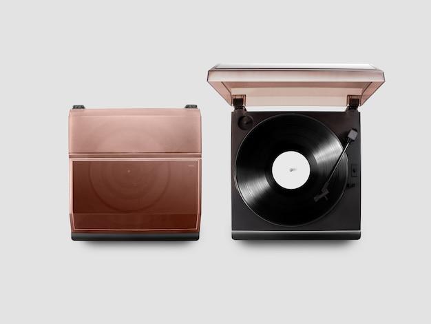 Lecteur de vinyle gramophone ouvert et fermé, vue de dessus,