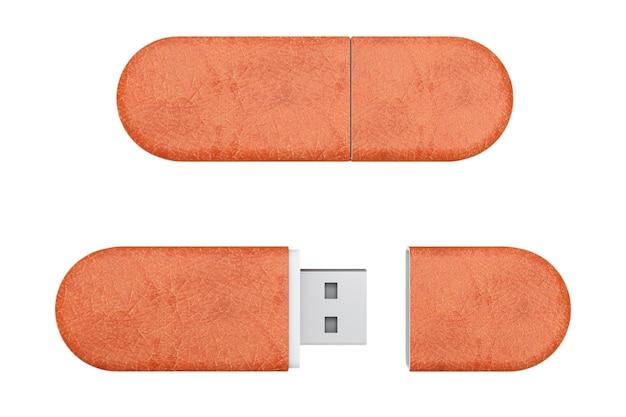 Lecteurs de mémoire flash usb en cuir marron sur fond blanc. rendu 3d.
