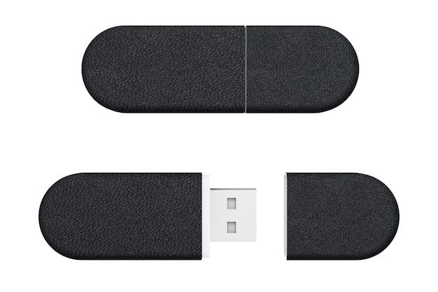 Lecteurs de mémoire flash usb en cuir noir sur fond blanc. rendu 3d.