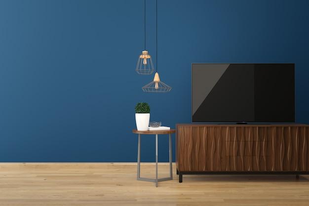 Led tv sur le sol en bois mur bleu