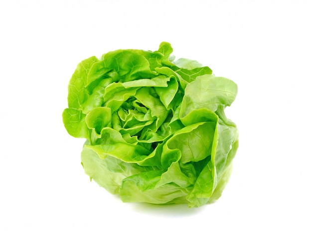 Légume laitue au beurre vert ou tête de beurre isolé sur blanc