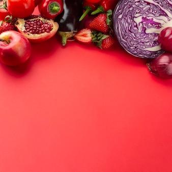 Légumes à angle élevé avec espace de copie