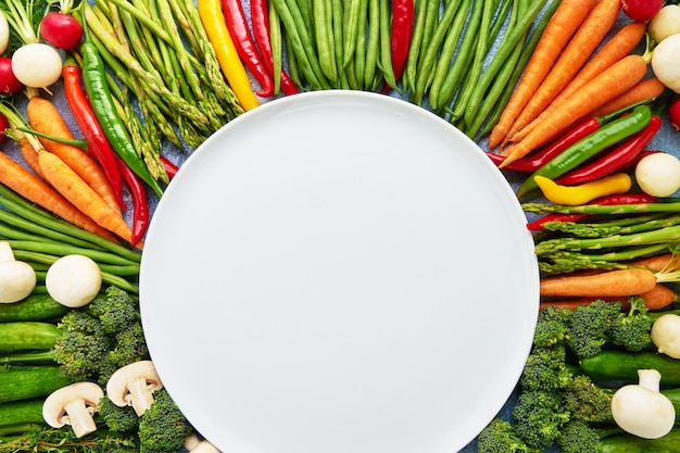 Légumes avec une assiette blanche vide au milieu.