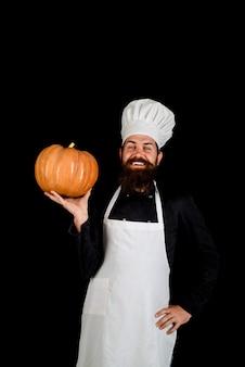 Légumes d'automne grosse citrouille pour halloween citrouille fraîche régime alimentaire sain végétarien manger chef