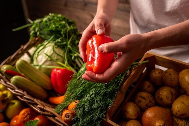 Légumes biologiques agriculteurs mains avec des pommes fraîchement cueillies pommes biologiques fraîches marché de fruits et légumes