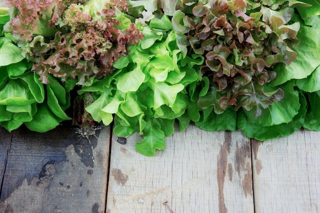 Légumes biologiques sur bois.