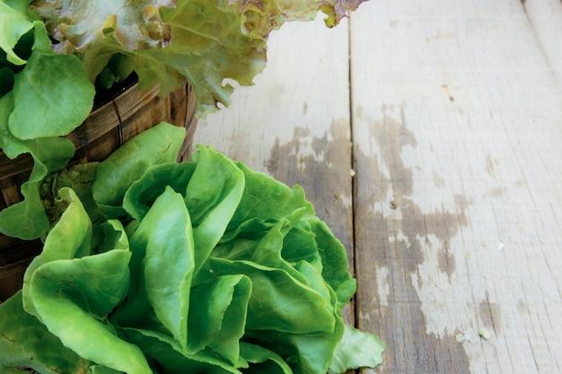 Légumes biologiques humides sur bois.