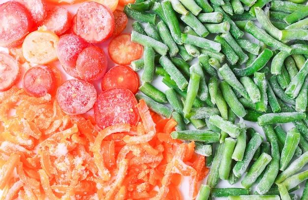 Légumes coloréstomates haricots poivrons congelés