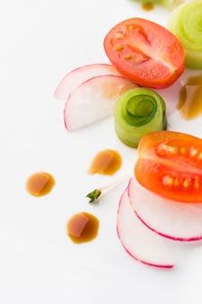 Légumes coupés en gros plan