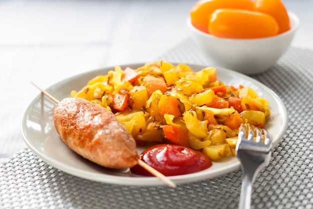 Légumes cuits au curcuma, cumin et dinde