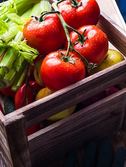 Légumes fraîchement mûrs dans une caisse en bois