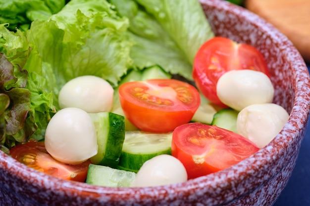 Légumes frais et un bol de salade de mozzarella sur fond bleu. caprese salad . laitue, tomates cerises, mozzarella,