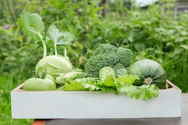 Légumes frais dans la boîte sur l'herbe verte