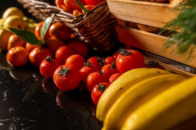 Légumes et fruits frais produits de la ferme produits biologiques photo de haute qualité