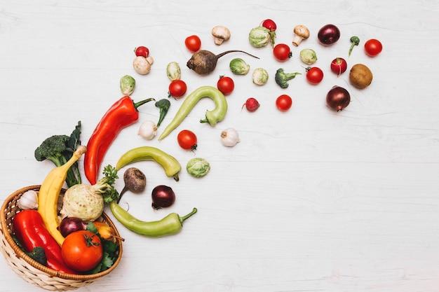 Légumes renversés du bol