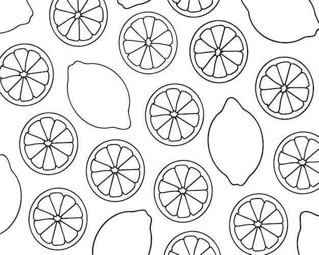 Lemons.set d'agrumes.dessin de contour de fruits, coloriage.noir et blanc.