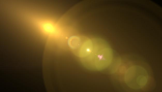 Lens flare light sur fond noir. ajout facile de superposition ou de filtrage d'écran sur les photos