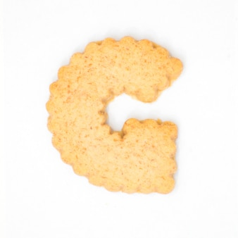 Letterg fait de biscuit de biscuit isolé sur fond blanc