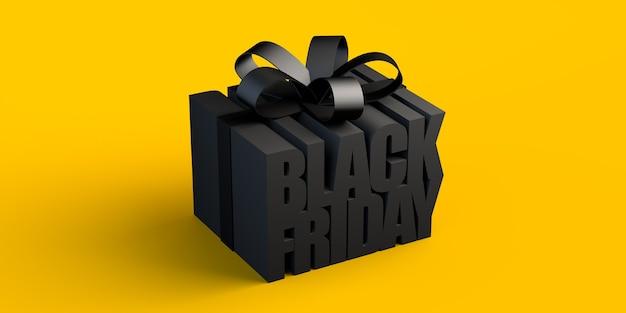 Lettrage du vendredi noir simulant une boîte-cadeau 3d illustration banner background