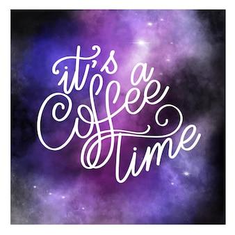 Lettrage c'est l'heure du café. signe calligraphique dessiné à la main. citation de café. texte pour impressions et affiches, conception de menus, cartes de voeux.
