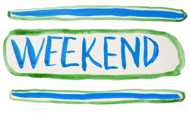 Lettrage à la main avec des aquarelles du week-end. stylisation d'une enseigne au néon, le mot week-end