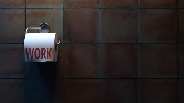 Lettrage de travail sur papier toilette dans les toilettes