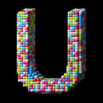 Lettre de l'alphabet pixelisé 3d u