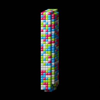 Lettre alphabet pixelisée 3d i