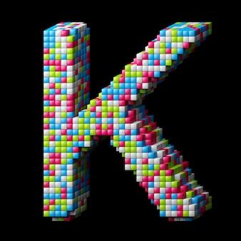 Lettre alphabet pixelisée 3d k