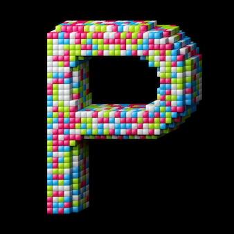 Lettre alphabet pixelisée 3d p