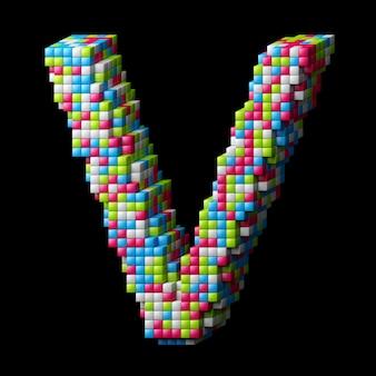 Lettre d'alphabet pixelisée 3d v