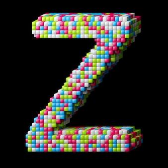 Lettre alphabet pixelisée 3d z