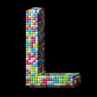 Lettre alphabet pixelisée 3d l