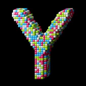 Lettre alphabet pixelisée 3d a