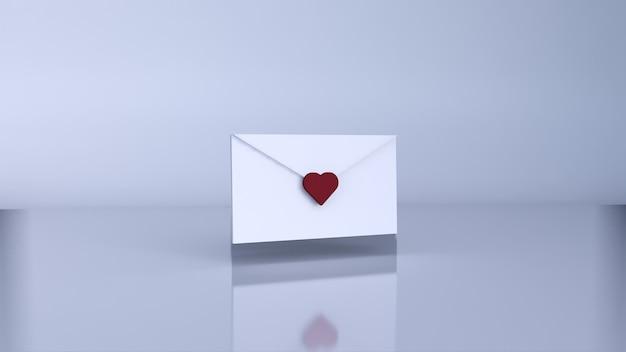 Lettre d'amour, concept de la saint-valentin. rendu 3d