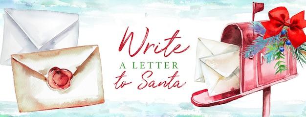 Lettre aquarelle au père noël dans une boîte aux lettres décorée. concept de noël.