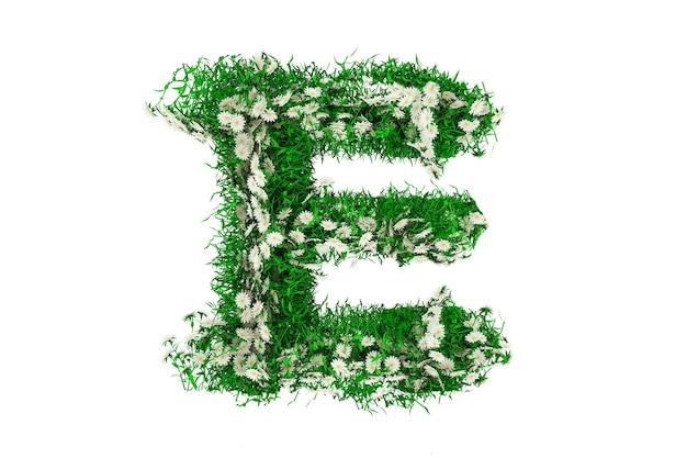 Lettre e d'herbe verte et de fleurs. rendu 3d.