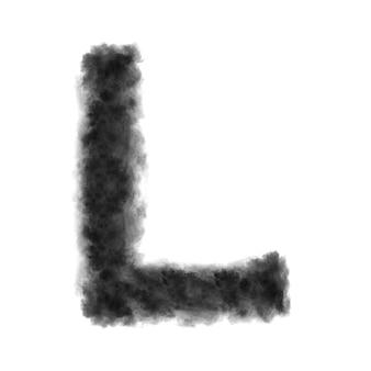 Lettre l faite de nuages noirs ou de fumée sur un fond blanc avec espace de copie, pas de rendu.