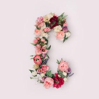 Lettre c faite de vraies fleurs et feuilles naturelles. concept de police de fleur. collection unique de lettres et de chiffres. idée créative pour le printemps, l'été et la saint-valentin.