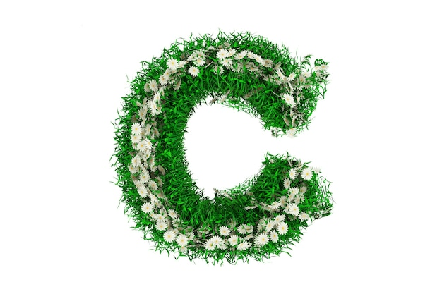 Lettre c d'herbe verte et de fleurs. rendu 3d.