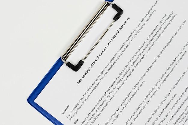 Lettre d'intention non contraignante de clients potentiels