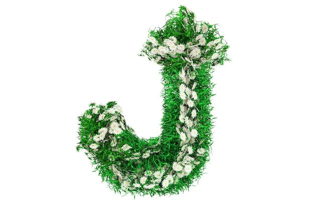 Lettre j d'herbe verte et de fleurs. rendu 3d.