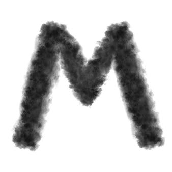 Lettre m faite de nuages noirs ou de fumée sur fond blanc avec espace de copie, pas de rendu.